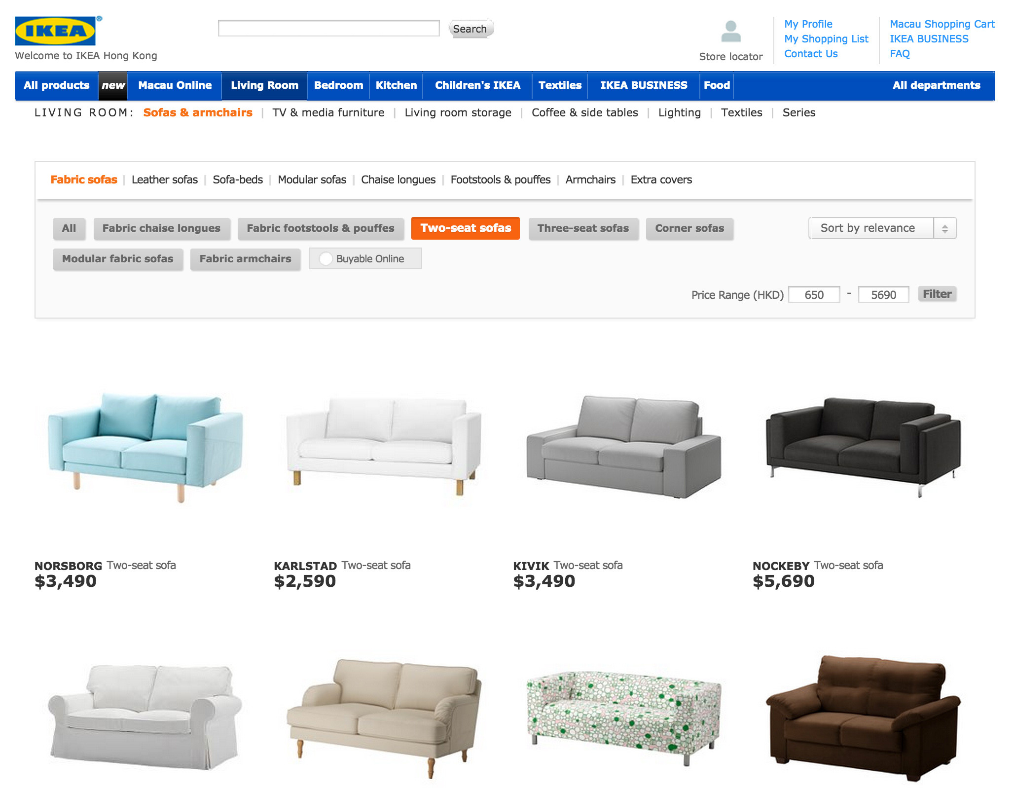 """Notice how Ikea enables """"category specific"""" filters such as """"two-seat sofas"""". If not provided, user would have read through each search result to find the information"""