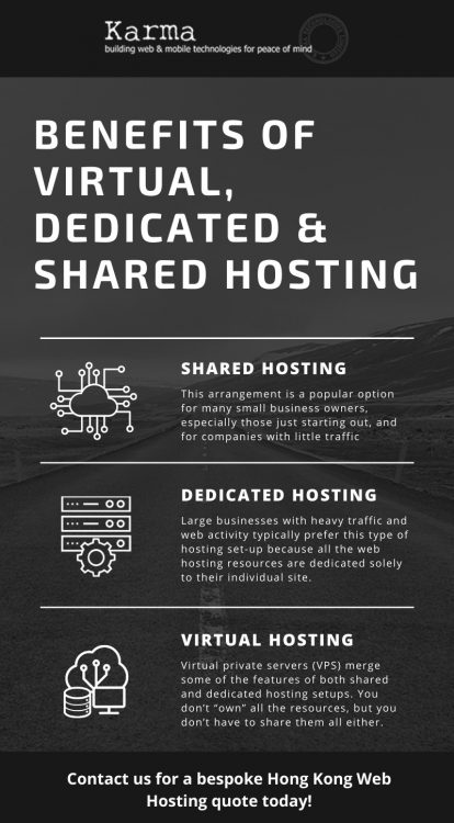 Infographic Benefits of Virtual, Dedicated & Shared Hosting